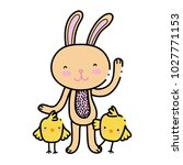 color chicks with rabbit animal ... | Shutterstock .eps vector #1027771153