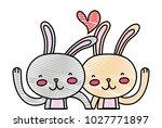 grated beauty rabbit couple... | Shutterstock .eps vector #1027771897