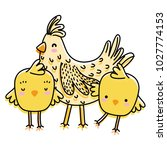 line color hen with chicks farm ... | Shutterstock .eps vector #1027774153