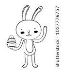 grunge happy rabbit animal with ... | Shutterstock .eps vector #1027776757