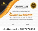 certificate template with...   Shutterstock .eps vector #1027777303