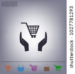 hands and shopping cart  sign... | Shutterstock .eps vector #1027781293