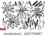 Stock vector vector set of ink drawing wild plants herbs and flowers monochrome artistic botanical 1027793857