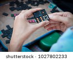 men having fun and playing game ... | Shutterstock . vector #1027802233