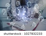 polygonal brain shape of an... | Shutterstock . vector #1027832233