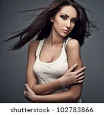 Beautiful woman. Studio photo. - stock photo
