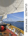 View from a brig sailing in the Stockholm archipelago - stock photo