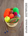 basket with balls of yarn for... | Shutterstock . vector #1027890283
