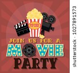 invitation for movie party ... | Shutterstock .eps vector #1027891573