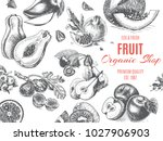 fruit organic shop. banner... | Shutterstock .eps vector #1027906903