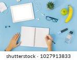 office desk workspace. female... | Shutterstock . vector #1027913833