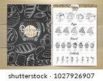 vintage chalk drawing bakery...   Shutterstock .eps vector #1027926907
