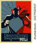 superhero tearing his shirt.... | Shutterstock .eps vector #1027930537
