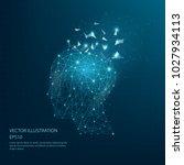 digitally drawn thinkers head... | Shutterstock .eps vector #1027934113