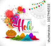 happy holi vector elements for ... | Shutterstock .eps vector #1027940533