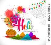 happy holi vector elements for ... | Shutterstock .eps vector #1027940533