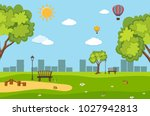background scene with trees in... | Shutterstock .eps vector #1027942813
