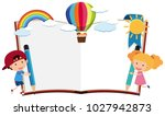 border template with boy and... | Shutterstock .eps vector #1027942873