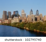 Skyline of Philadelphia, Pennsylvania from Schuylkill River at sunset - stock photo