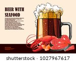 beer and seafood hand drawn... | Shutterstock .eps vector #1027967617