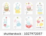 set of easter gift tags and... | Shutterstock .eps vector #1027972057