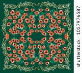 unusual scarf floral print.... | Shutterstock . vector #1027976587