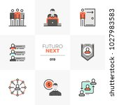 semi flat icons set of employee ... | Shutterstock .eps vector #1027983583