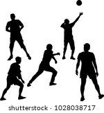 vector black silhouettes pose... | Shutterstock .eps vector #1028038717