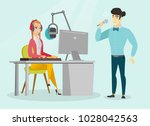 young caucasian white dj...   Shutterstock .eps vector #1028042563