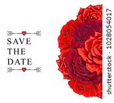 Stock vector vector sketch illustration save the date template red rose flower bouquet with closed opened 1028054017