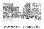 downtown of west side new york... | Shutterstock .eps vector #1028073493