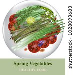healthy plate with spring...   Shutterstock .eps vector #1028093683