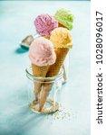 various of ice cream flavor in... | Shutterstock . vector #1028096017