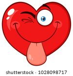 winking red heart cartoon emoji ... | Shutterstock .eps vector #1028098717