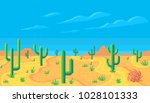 pixel art desert at day....   Shutterstock .eps vector #1028101333