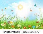 summer or spring meadow with... | Shutterstock .eps vector #1028103277