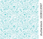 seamless pattern with school...   Shutterstock .eps vector #1028113507
