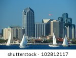 Skyline of San Diego, California from Coronado Bay - stock photo