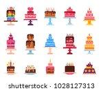 wedding or birthday pie cakes...   Shutterstock .eps vector #1028127313