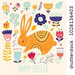 easter greeting card. vector... | Shutterstock .eps vector #1028136403