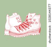hiking boots  vector... | Shutterstock .eps vector #1028144377