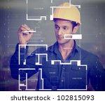 construction worker wearing a...   Shutterstock . vector #102815093