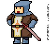 vector pixel art knight... | Shutterstock .eps vector #1028162047