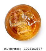 glass of whiskey with ice... | Shutterstock . vector #1028163937