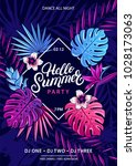 hello summer hand written... | Shutterstock .eps vector #1028173063
