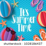 it's summer time vector banner... | Shutterstock .eps vector #1028186437