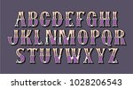 colorful lettering retro font.... | Shutterstock .eps vector #1028206543
