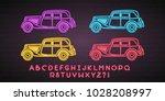 retro car different colour set... | Shutterstock .eps vector #1028208997