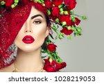 beauty fashion model girl...   Shutterstock . vector #1028219053