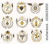 set of luxury heraldic vector... | Shutterstock .eps vector #1028225053